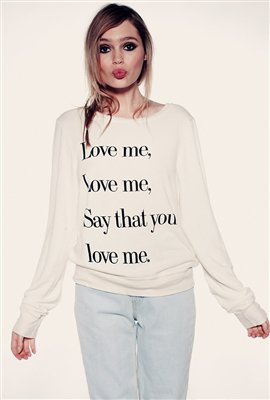 Wildfox Love Me Baggy Beach Jumper in Ceramic White