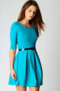 Kristie 3/4 Sleeve Box Pleat Skater Dress