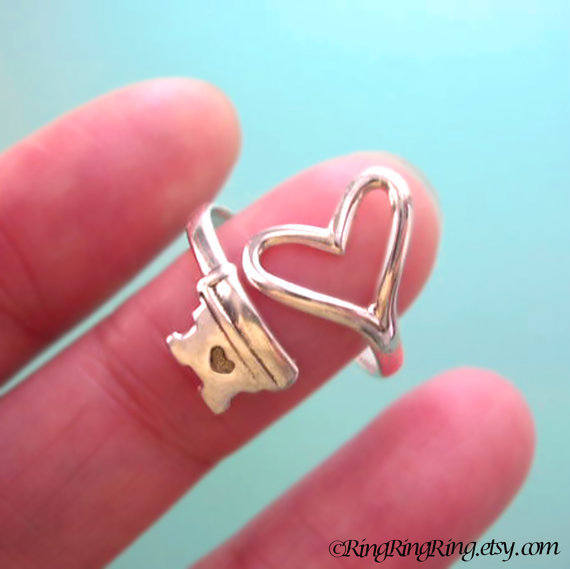 Adjustable heart key ring jewelry,  925 sterling silver ring