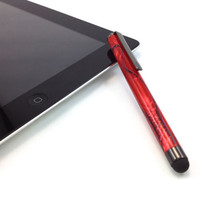 Stylus for iPad iPhone and Similar Touch Screens Turned from Red & Black Pearl Swirl Acrylic