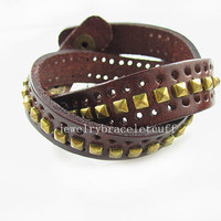 Bangle leather bracelet buckle bracelet women bracelet men bracelet made of  brown leather and bronze nail wrist bracelet SH-0706
