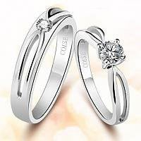 925 Sterling Silver and Swiss Diamond Hollow Couple Ring