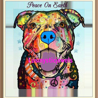 Digital Print Pitbull Peace on Earth