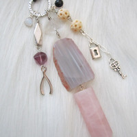 Talisman Charm Necklace - Rose Quartz, Agate, Bone, Fluorite, Moonstone, Amethyst