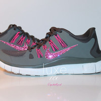 NIKE Free 5.0 2014 running shoes w/Swarovski Crystals - Grey/Pink/White