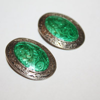 Sterling  Silver Earrings Siam Green Etched 1960s  Jewelry