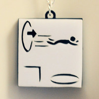 Ricochet Test Chamber Warning Icons Necklace