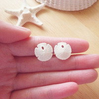 Sand Dollar Earrings - Small Natural White Sand Dollars - Beach Boho - Cute - Adorable - Romantic - Whimsical - Dreamy - Mermaid Collection