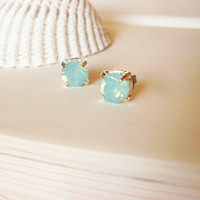 Mermaid's Lagoon - Pacific Opal Swarovski Crystal Stud Earrings Aqua Mint Seafoam Green Elegant Romantic Whimsical Dreamy Mermaid Collection