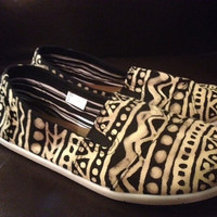 Hand Bleached Aztec Print Toms Style Shoes - Free Shipping