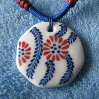 Ceramic Necklace.White Ceramic Art,Handmade.