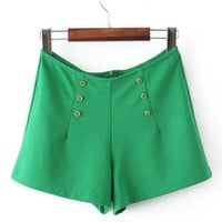 Double Breasted High Waist Shorts Green$36.00