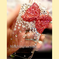 red diamond bow iphone 4 case iphone 4s cover bling iphone 4 case clear iphone 4 case unique crystal iphone 4 case
