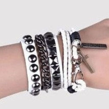 Punk Rock Style White Leather Bracelet Couple Bracelet Women Leather Bracelet Men Leather Bracelet 1252A
