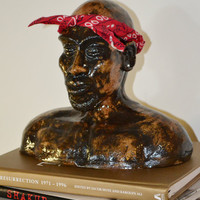 Tupac Shakur Ornamental Ceramic Portrait Bust with Earings and Bandana (2pac)