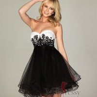 Empire Sweetheart Organza Short/Mini Homecoming Dress With Embroidery at Msdressy