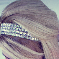 Silver Studded Headband - Shiny Retro Hair Accessory
