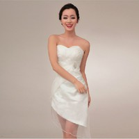 Short Satin Ivory With Tulle Strapless Bridesmaid Dresses YSP370
