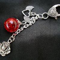 Red Rose Winged Heart Fried Marble Keychain