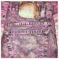 Vintage Metallic Silver and Pink High Waisted Cut Off Denim Shorts (Small/Medium)
