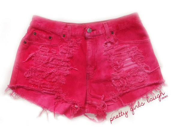 Neon Pink High Waisted Denim Shorts (Large)