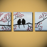 Love Birds, HUGE 36 x 12, Acrylic painting canvas, gallery wrapped and ready to hang, ORIGINAL One of a Kind - Please see close ups
