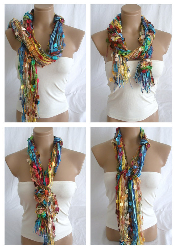 Fringe Scarf Knotted Scarf The Rainbow