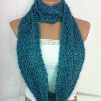 Teal green hand knitted infinity scarf