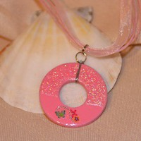 Reversible Pink and Glitter Butterfly Washer Necklace