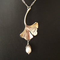 Romantic Art Nouveau Antiqued Silver Ginkgo by martywhitedesigns