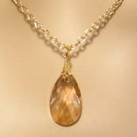 Swarovski Crystal Gold Shadow Necklace  by martywhitedesigns