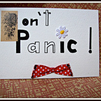 shabby chic postcard Don&#x27;t Panic
