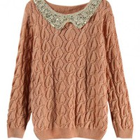 Hollow out Twist Pink Sweater with Sequins $39.00