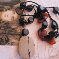 Beads Seaglass and String in Brown and Black a Handmade Necklace on Etsy Metal Handmade