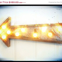SALE Light fixture ON SALE vintage electric arrow metal barn wood industrial metal