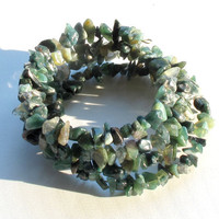 Stacking bangle bracelets - rustic moss agate green stone -  4 in one