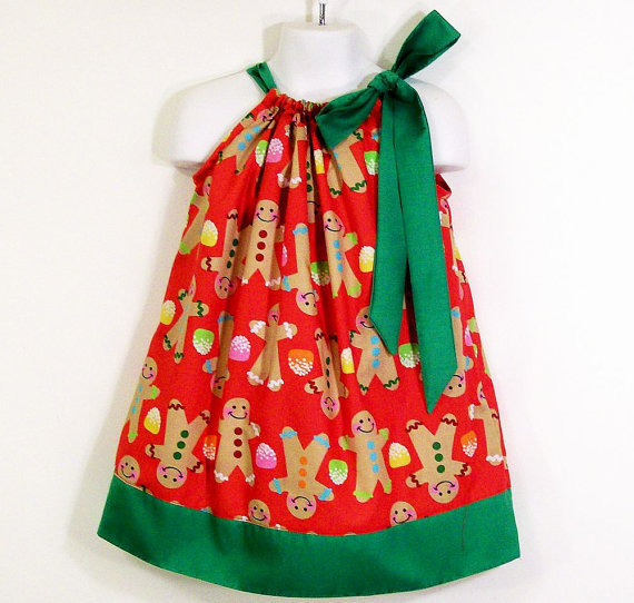 Girls Pillowcase Dress-Gingerbread man--5,6,7