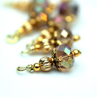 Vintage Style Clear Golden AB Topaz Crystal and Golden Bead Dangles Charm Drop Set - 6 Pieces