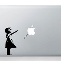 Banksy Girl -- Mac Decal Mac Sticker Macbook Decals Macbook Stickers  Apple Vinyl Decal for Macbook Pro / Macbook Air / iPad