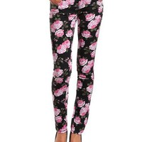Hot Kiss Floral Print Skinny Jean: Charlotte Russe