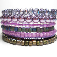 Memory Wire Bracelet Lavender and Grey Stacked Beaded Wrap Color Block