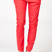 Brooke Pleated & Cropped Pants in Coral | a-thread