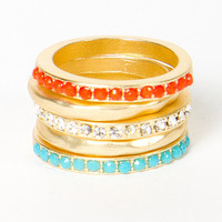 Tangerine & Turquoise Stacking Ring Set | a-thread