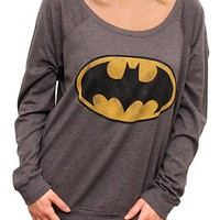 Junk Food Clothing -  - Batman Vintage Off the Shoulder Long Sleeve Raglan