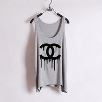 Dripping Chanel - Women Tank Top - Grey - Sides Straight