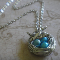 Blue Potato Pearl Bird&#x27;s Nest Necklace