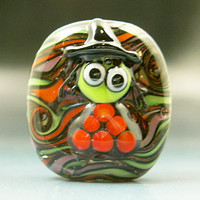 Handmade Lampwork Green Halloween Witch Focal Glass Bead SRA Gelly