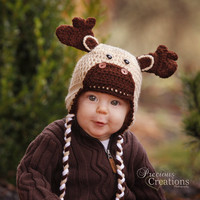 Baby Moose Beanie Hat-- 3-6 Months-Earflapped with Braid ties