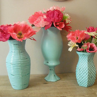 3 upcycled aqua blue vases ... shabby chic Romantic cottage Wedding or decor