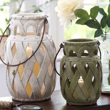 Lattice Ceramic Lantern